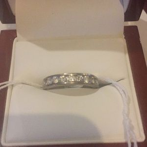 Silver diamond simulated ring size 8